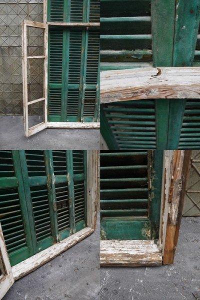 画像3: アンティーク 英国製 グリーンペイント 特大窓枠