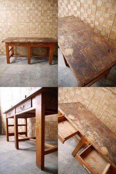 画像1: アンティーク 大型 ウッド クラフトテーブル