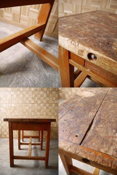 画像2: アンティーク 大型 ウッド クラフトテーブル