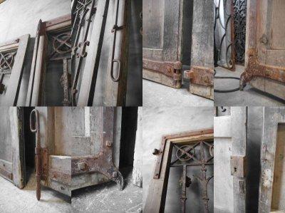 画像3: アンティーク 特大 フランス アイアン格子 ウッドドア 4枚セット