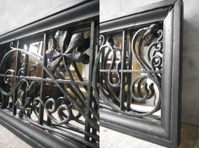 画像1: アンティーク ブラックフレーム アイアン装飾ミラー