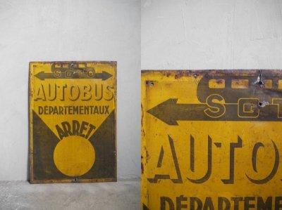画像1: アンティーク AUTOBUS メタル製看板