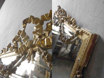 画像1: アンティーク 特大 ゴールドフレーム ウォール ミラー