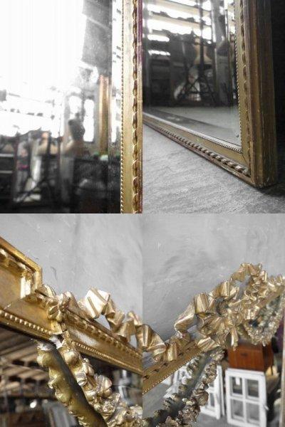画像2: アンティーク 特大 ゴールドフレーム ウォール ミラー