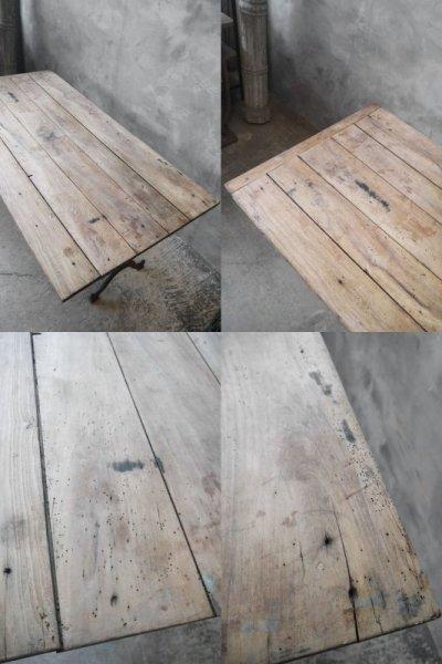 画像2: アンティーク アイアンベース ウッドテーブル