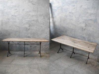 画像1: アンティーク アイアンベース ウッドテーブル