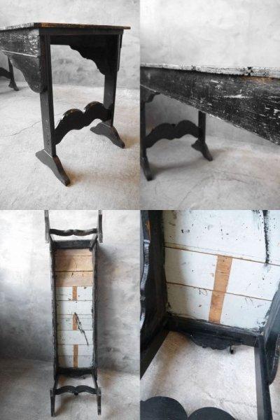 画像3: アンティーク ブラックペイント ウッドテーブル