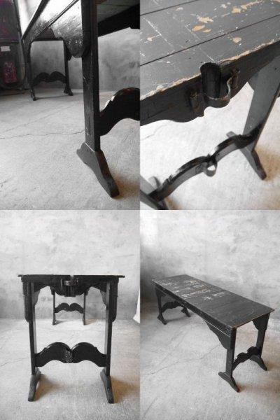 画像2: アンティーク ブラックペイント ウッドテーブル