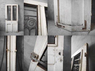 画像3: アンティーク アイアン格子 ウッドドア