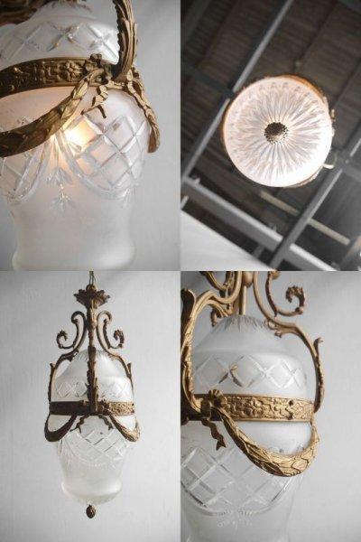 画像2: アンティーク ブラス製 1灯 シャンデリア