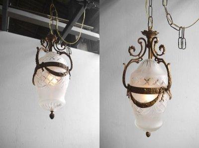 画像1: アンティーク ブラス製 1灯 シャンデリア