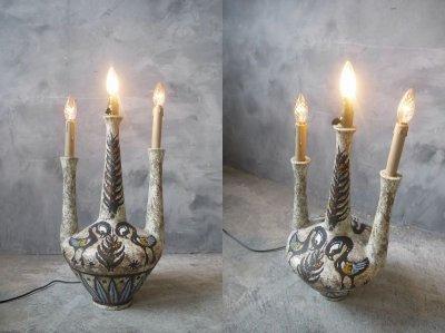画像1: アンティーク 陶器製 テーブルランプ