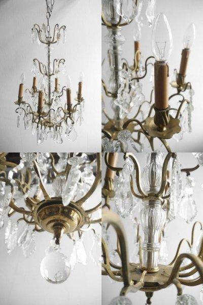 画像2: アンティーク ブラス製 6灯 シャンデリア